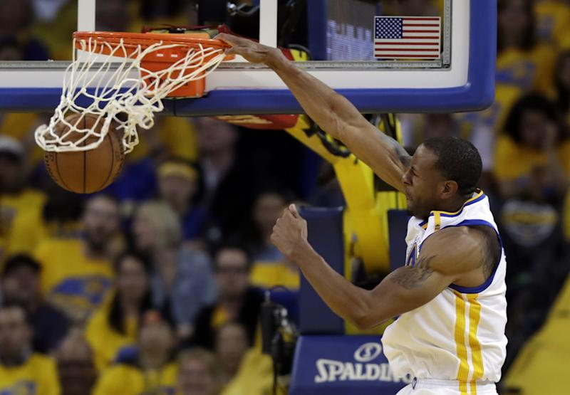 The Warriors may not be able to afford Andre Iguodala if they have to give Durant a new deal. (AP)