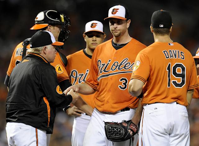 Baltimore Orioles starting pitcher Scott Feldman, second from right, is pulled from the game by manager Buck Showalter, left, during the fifth inning of a baseball game against the Seattle Mariners, Saturday, Aug. 3, 2013, in Baltimore. Also seen is Orioles first baseman Chris Davis (19). (AP Photo/Nick Wass)