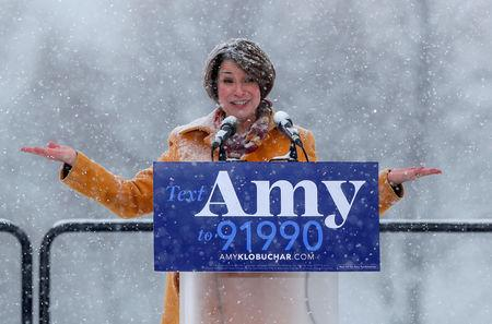 FILE PHOTO: U.S. Senator Amy Klobuchar speaks in Minneapolis