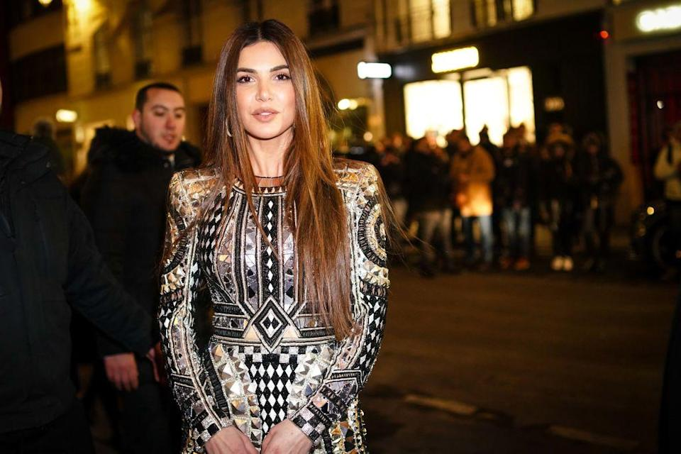 Negin Mirsalehi wears a Balmain dress, outside Balmain, during Paris Fashion Week – Haute Couture Spring Summer 2020, on January 23, 2019 in Paris, France. (Photo by Edward Berthelot/Getty Images)