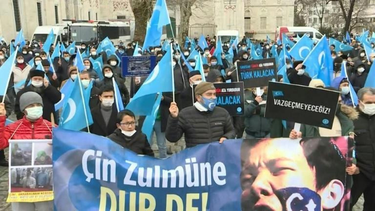 Uyghurs protest Chinese foreign minister's visit to Ankara