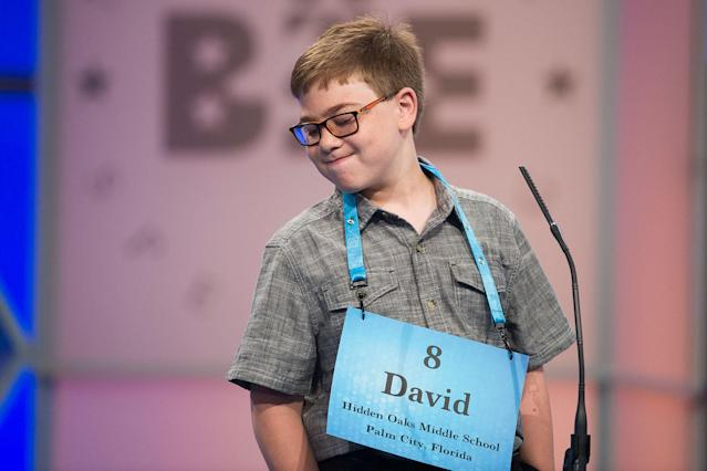 <p>David Firestone from Palm City, Fla., reacts after misspelling his word during the 90th Scripps National Spelling Bee in Oxon Hill, Md., Wednesday, May 31, 2017. (AP Photo/Cliff Owen) </p>