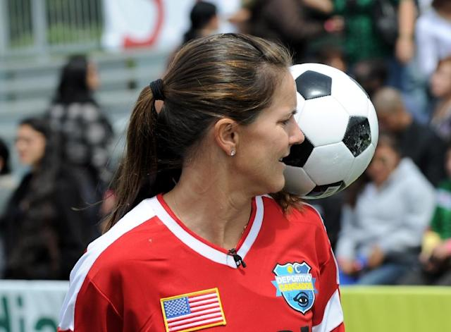 Brandi Chastain, pictured in 2010, had a plaque dedicated to her to mark her induction to the San Francisco Bay Area Sports Hall of Fame (AFP Photo/Michael Buckner)