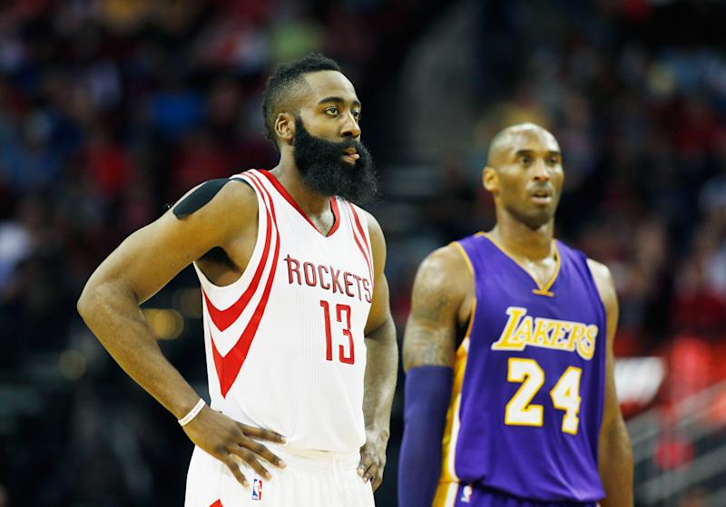 The shot charts for James Harden and Kobe Bryant are almost exact opposites. (Scott Halleran/Getty Images)