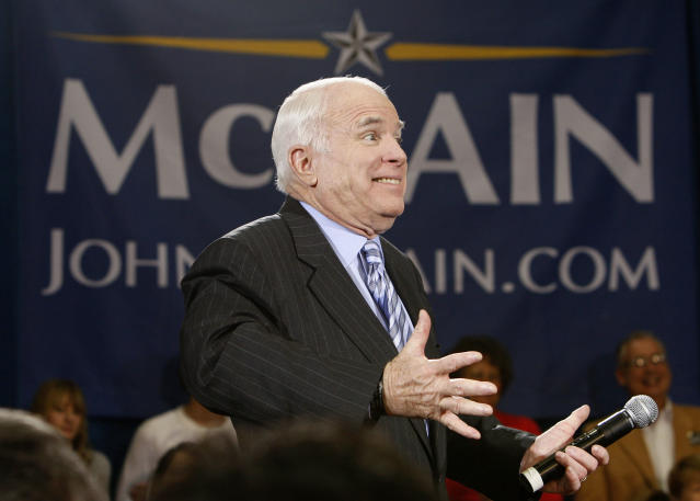 Sen. John McCain reacts during a campaign event at the Fantasy of Flight museum in Polk City, Fla., on Jan. 27, 2008. (Photo: Charles Dharapak/AP)