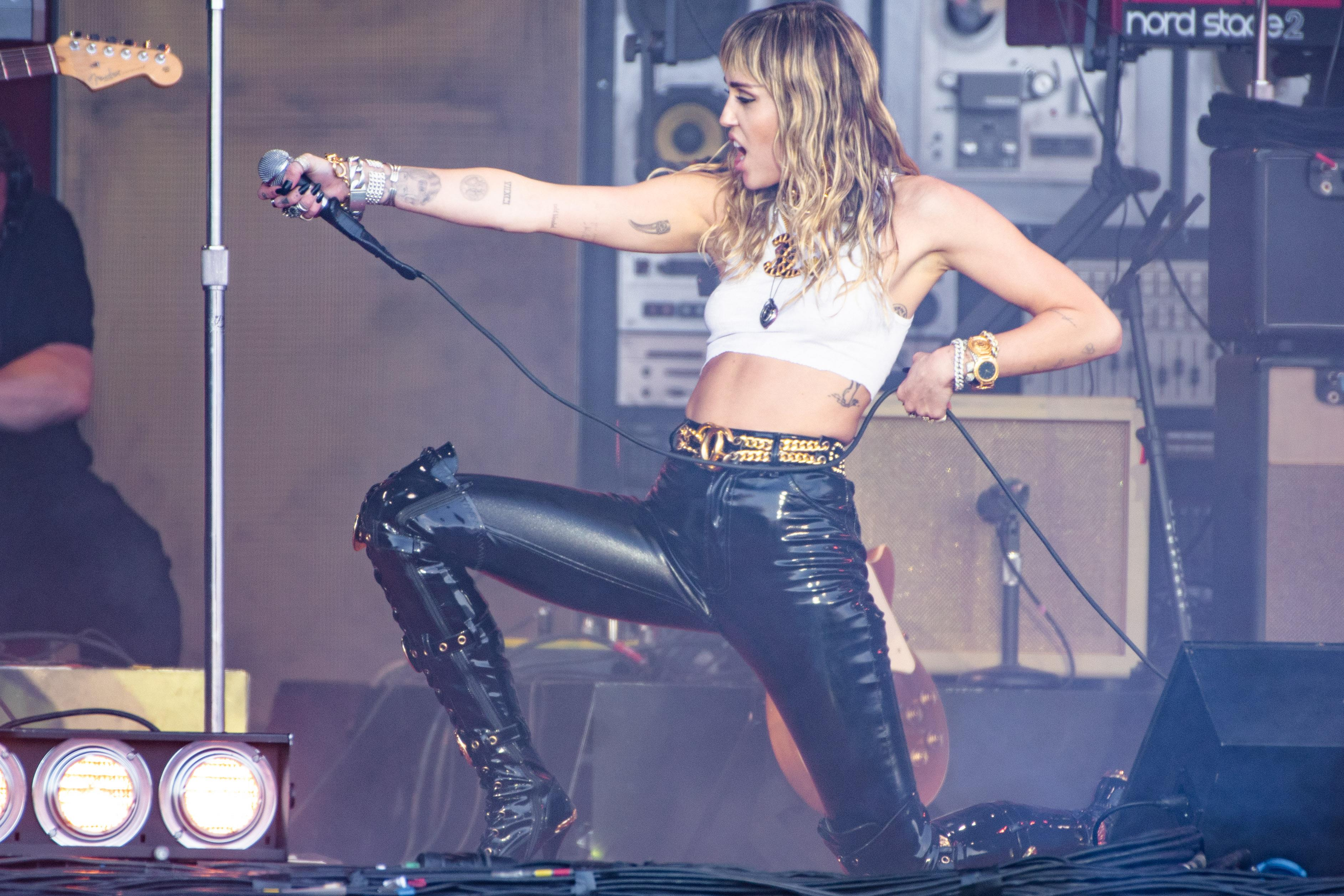 Miley Cyrus performs at the Pyramid Stage during day five of Glastonbury Festival June 2019