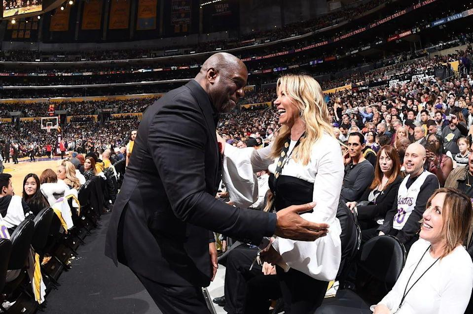 Lakers president Magic Johnson and owner Jeanie Buss can't imagine why the rest of the NBA would treat them so unfairly. (Getty Images)