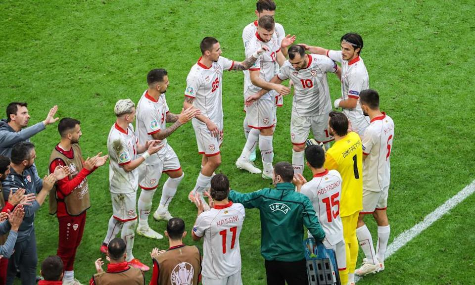 Goran Pandev receives a guard of honour from his teammates after being substituted on his final appearance for North Macedonia.