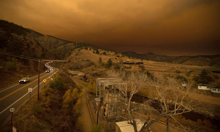 Evacuees drive through a traffic jam while fleeing the East Troublesome fire in Colorado.