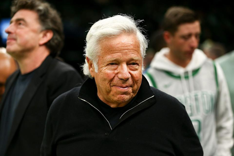 BOSTON, MA - APRIL 14:  Robert Kraft, owner of the New England Patriots looks on during Game One of the first round of the 2019 NBA Eastern Conference Playoffs between the Boston Celtics and the Indiana Pacers at TD Garden on April 14, 2019 in Boston, Massachusetts. NOTE TO USER: User expressly acknowledges and agrees that, by downloading and or using this photograph, User is consenting to the terms and conditions of the Getty Images License Agreement. (Photo by Adam Glanzman/Getty Images)