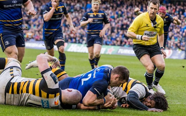 <span>Fergus McFadden scores for Leinster </span> <span>Credit: REX FEATURES </span>