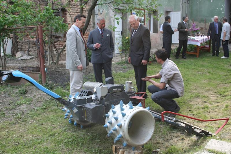This June 2012 image supplied by Fundatia ADEPT Transilvania shows Prince Charles on his most recent visit to a rural area of Transylvania, in Romania. The area is drawing tourists, including the prince, who has championed its rural character and small farms for their economic potential and environmental sustainability. (AP Photo/Fundatia ADEPT Transilvania)