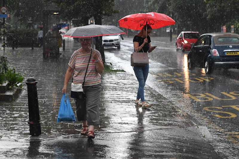 After a scorching week, Britain has now been hit by rain (Picture: PA)