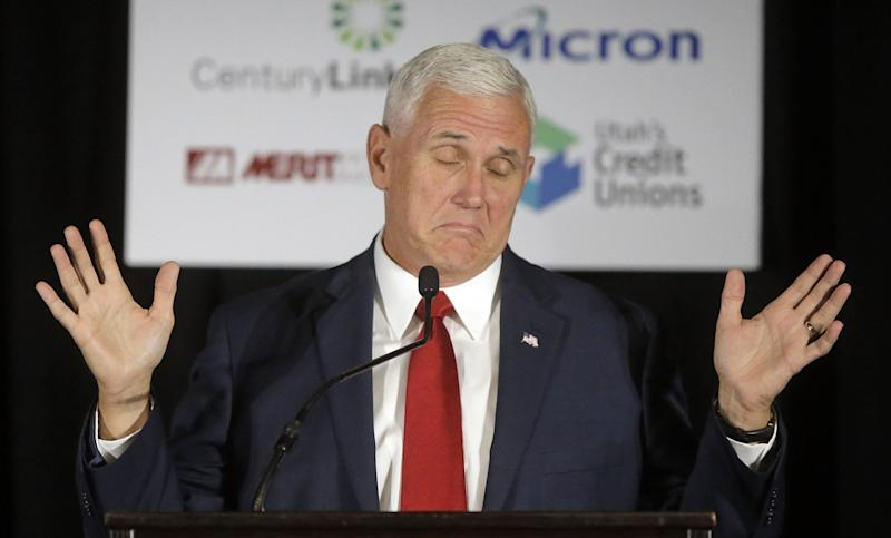 Trump's running mate, Indiana Gov. Mike Pence, speaks to the Utah Solutions Summit in Salt Lake City in September. (AP Photo/Rick Bowmer)
