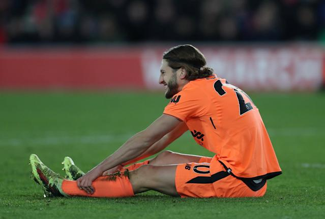 "Soccer Football - Premier League - Southampton vs Liverpool - St Mary's Stadium, Southampton, Britain - February 11, 2018 Liverpool's Adam Lallana reacts after missing a chance to score Action Images via Reuters/Peter Cziborra EDITORIAL USE ONLY. No use with unauthorized audio, video, data, fixture lists, club/league logos or ""live"" services. Online in-match use limited to 75 images, no video emulation. No use in betting, games or single club/league/player publications. Please contact your account representative for further details."
