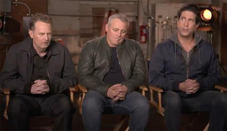 Matthew Perry alongside former co-stars David Schwimmer and Matt LeBlanc in the trailer for the Friends reunion special