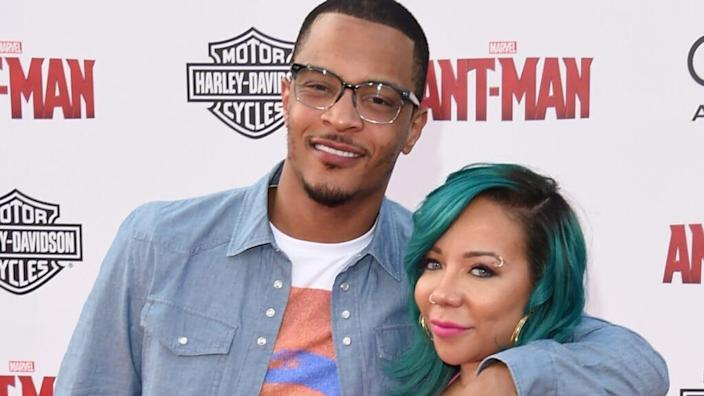 """Clifford """"T.I."""" Harris (left) and his wife, Tameka """"Tiny"""" Cottle-Harris (right), are reportedly being investigated by authorities in Los Angeles for drugging and sexually assaulting a woman. (Photo by Jason Merritt/Getty Images)"""