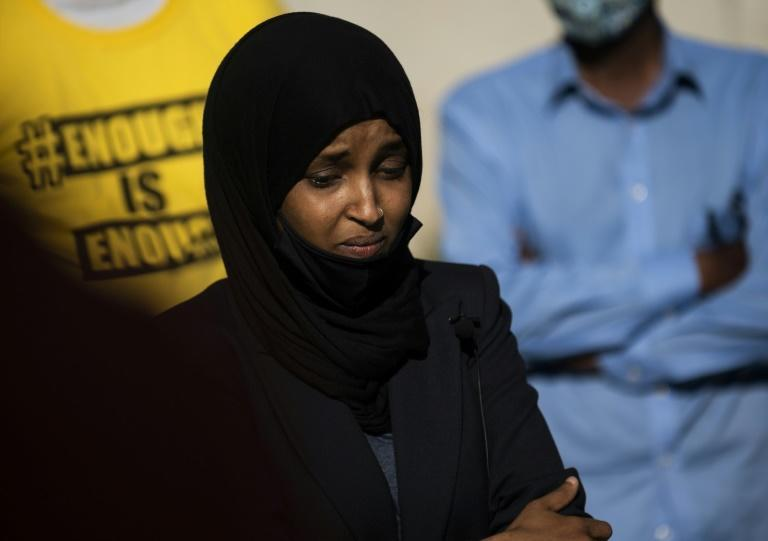 """President Donald Trump told Representative Ilhan Omar, pictured, and three other women of color in Congress that they should """"go back"""" to their countries of origin (AFP Photo/Stephen Maturen)"""