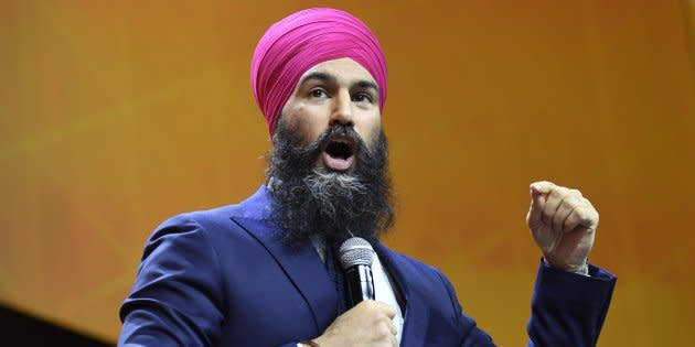 NDP Leader Jagmeet Singh speaks during the federal NDP convention in Ottawa on Feb. 17, 2018.