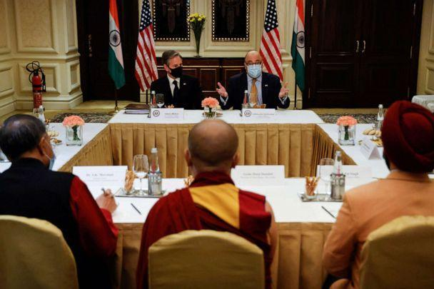 U.S. Secretary of State Antony Blinken and U.S. Ambassador to India Atul Keshap, deliver remarks to civil society organization representatives in a meeting room at the Leela Palace Hotel in New Delhi on July 28, 2021.  (Jonathan Ernst/POOL/AFP via Getty Images)