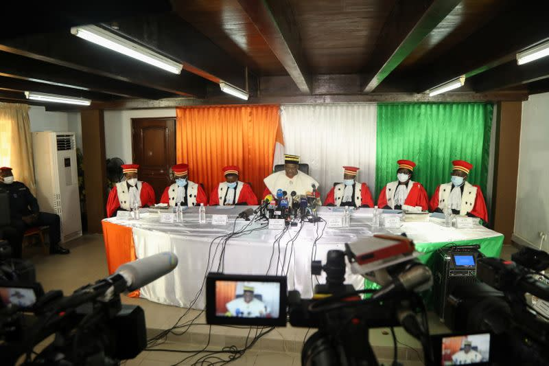 Ivory Coast's President of the Constitutional Council Mamadou Kone gives the final results of Ivory Coast's October 31 presidential election in Abidjan