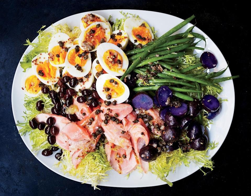 "We love making this take on a Niçoise salad with mâche instead of traditional frisée for a slightly more mellowed recipe. <a href=""https://www.bonappetit.com/recipe/salmon-nicoise?mbid=synd_yahoo_rss"" rel=""nofollow noopener"" target=""_blank"" data-ylk=""slk:See recipe."" class=""link rapid-noclick-resp"">See recipe.</a>"