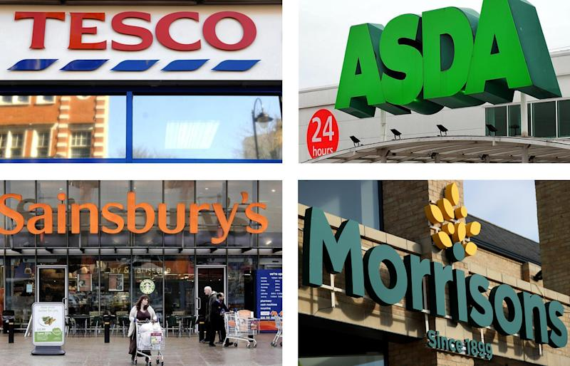 Embargoed to 0001 Friday February 22 File photos of Tesco, Asda, Sainsbury's and Morrisons supermarkets as the so-called Big Four supermarkets have slumped to the bottom of an annual ranking after disappointing customers with the quality of their food and ability to keep up with online rivals.