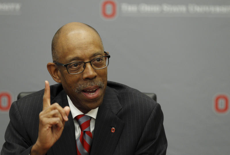 Dr. Michael Drake speaks during a press conference after being named the new president at Ohio State University following a university board meeting where he was voted in at the school Wednesday, Jan. 30, 2014. (AP Photo/Paul Vernon)