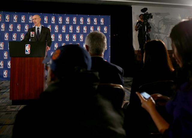 NEW YORK, NY - APRIL 29: NBA Commissioner Adam Silver holds a press conference to discuss Los Angeles Clippers owner Donald Sterling at the Hilton Hotel on April 29, 2014 in New York City. Silver announced that Sterling will be banned from the NBA for life and will be fined $2.5 million for racist comments released in audio recordings. (Photo by Elsa/Getty Images)