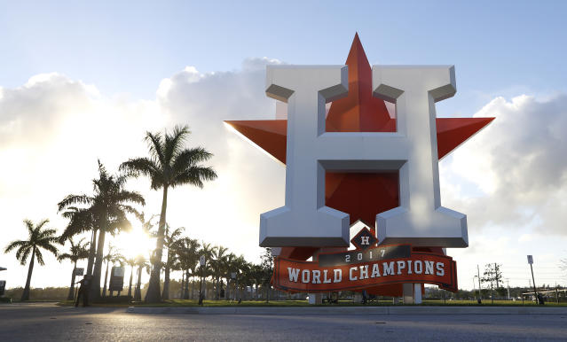 This Wednesday, Feb. 12, 2020 photo shows the outside of the Houston Astros spring training facility at the Fitteam Ballpark of The Palm Beaches in West Palm Beach, Fla. (Karen Warren/Houston Chronicle via AP)