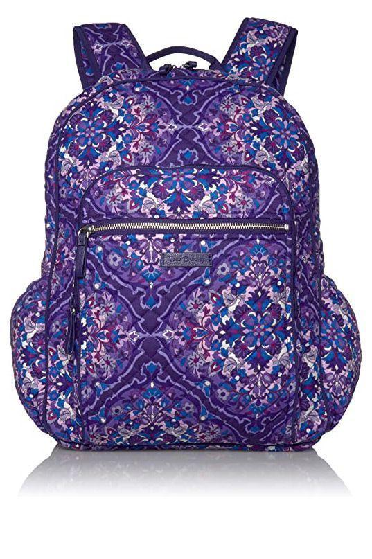 """<p><strong>Vera Bradley</strong></p><p>amazon.com</p><p><strong>$114.99</strong></p><p><a href=""""https://www.amazon.com/dp/B07T2FS9ZJ?tag=syn-yahoo-20&ascsubtag=%5Bartid%7C10055.g.27508273%5Bsrc%7Cyahoo-us"""" rel=""""nofollow noopener"""" target=""""_blank"""" data-ylk=""""slk:Shop Now"""" class=""""link rapid-noclick-resp"""">Shop Now</a></p><p><a href=""""https://www.amazon.com/stores/VeraBradley/VeraBradley/page/411AF527-C86A-42CB-87F8-4BA8F06F0CE3?tag=syn-yahoo-20&ascsubtag=%5Bartid%7C10055.g.27508273%5Bsrc%7Cyahoo-us"""" rel=""""nofollow noopener"""" target=""""_blank"""" data-ylk=""""slk:Vera Bradley"""" class=""""link rapid-noclick-resp"""">Vera Bradley</a>'s college backpack comes in over 35 of fun patterns from paisley prints to geometric designs. This style is perfect for college students because it has a mesh laptop pouch, a <strong>hidden back pocket for valuables</strong> and three pen holders. It's made from 100% cotton for a soft feel and cute tufted look, but it's not waterproof. </p>"""