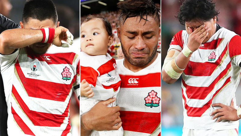 Japanese players, pictured here in tears after their loss at the Rugby World Cup.