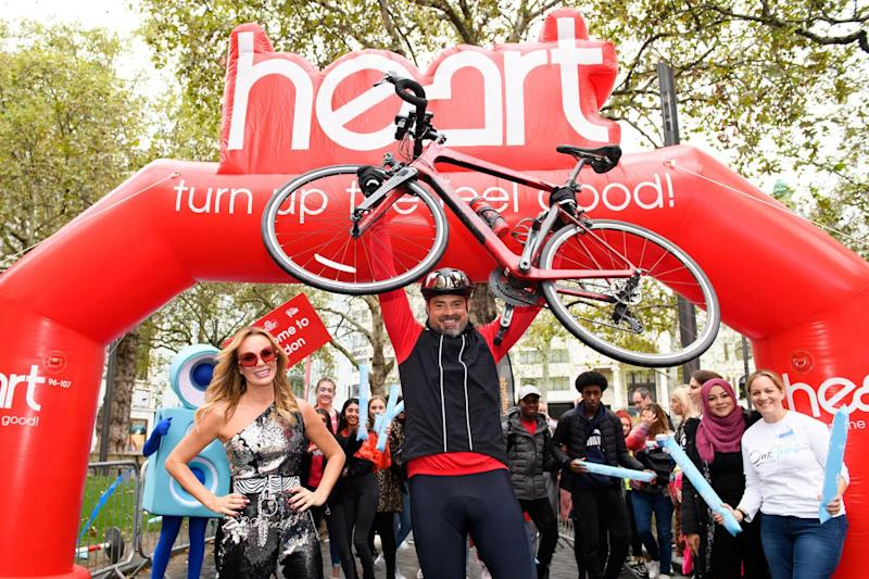Triumphant: Jamie Theakston at the finish line on Friday