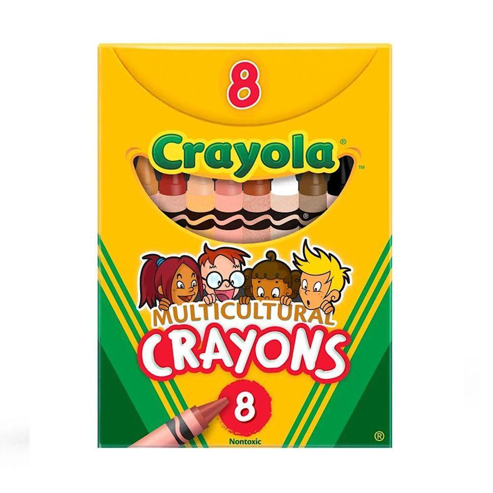 """<p><strong>Crayola</strong></p><p>amazon.com</p><p><strong>$6.31</strong></p><p><a href=""""https://www.amazon.com/dp/B00QFWKRXM?tag=syn-yahoo-20&ascsubtag=%5Bartid%7C2089.g.1804%5Bsrc%7Cyahoo-us"""" rel=""""nofollow noopener"""" target=""""_blank"""" data-ylk=""""slk:Shop Now"""" class=""""link rapid-noclick-resp"""">Shop Now</a></p><p>Add inclusivity to your child's artwork this school year with a pack of multicultural crayons from Crayola. The set comes with eight different shades to help your little artist accurately recreate the people that they see in the world.</p>"""