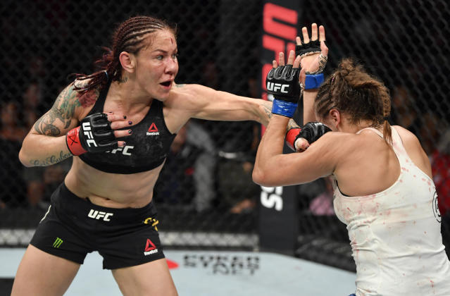 Cris Cyborg, left, will make her Bellator debut in January in a title fight against Julia Budd at The Forum in Southern California, marking her first fight since leaving the UFC. (Jeff Bottari/Zuffa LLC)