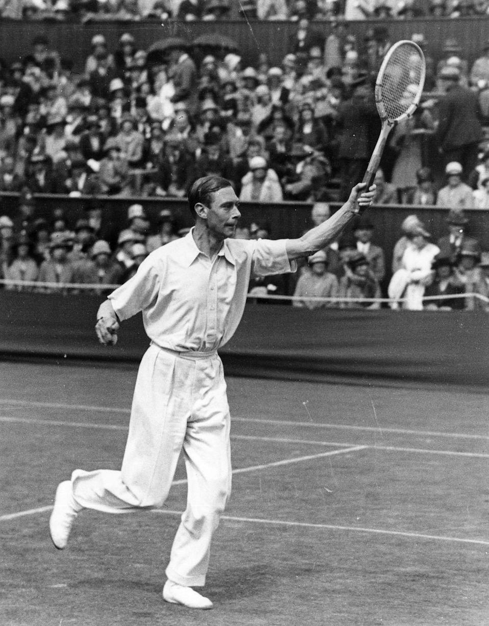 """<p>A few years later, the future George VI would go on to become the only royal ever to compete at Wimbledon, playing doubles with Louis Greig (they were <a href=""""https://time.com/5616089/royals-at-wimbledon/"""" rel=""""nofollow noopener"""" target=""""_blank"""" data-ylk=""""slk:eliminated in the first round"""" class=""""link rapid-noclick-resp"""">eliminated in the first round</a>.) <br></p>"""