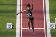 Keturah Orji competes during the finals of women's triple jump at the U.S. Olympic Track and Field Trials Sunday, June 20, 2021, in Eugene, Ore. (AP Photo/Charlie Riedel)