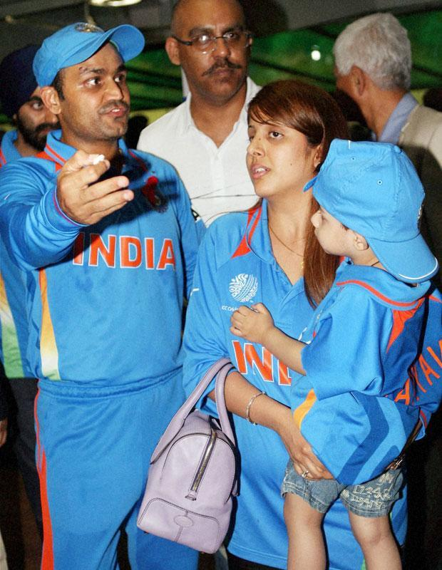 Sehwag was accompanied by his wife and son to the Mohali match.