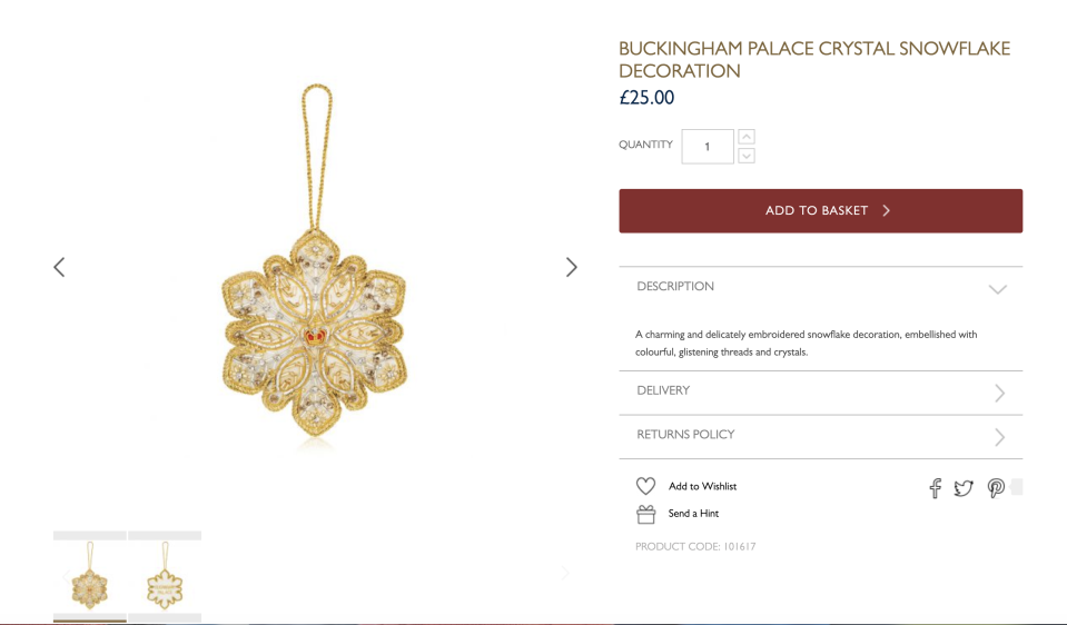 The crystal snowflake is £25. (Buckingham Palace)