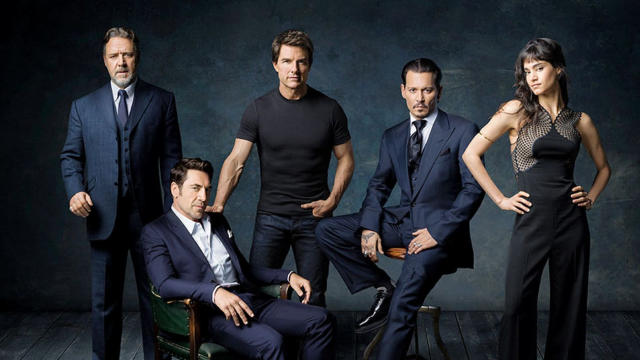 Russell Crowe, Javier Bardem, Tom Cruise, Johnny Depp and Sofia Boutella joined the Dark Universe in 2017. (Credit: Universal)