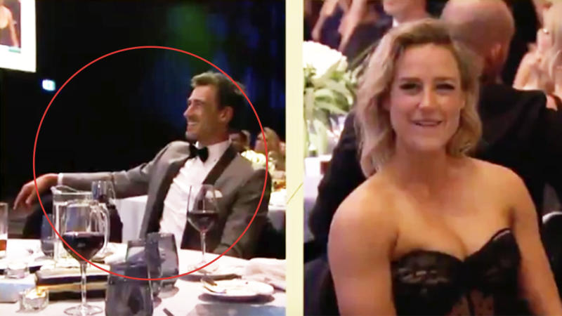 Mitchell Starc (pictured left) smiles as he sits next to an empty seat while Ellyse Perry (pictured right) laughs.