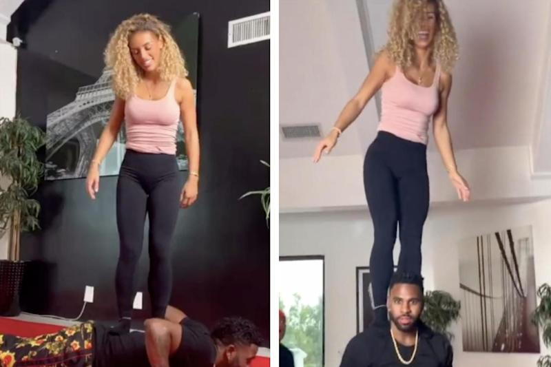 Jason Derulo and Jena Frumes doing the Stand Up challenge on Tik Tok: TikTok/@jasonderulo
