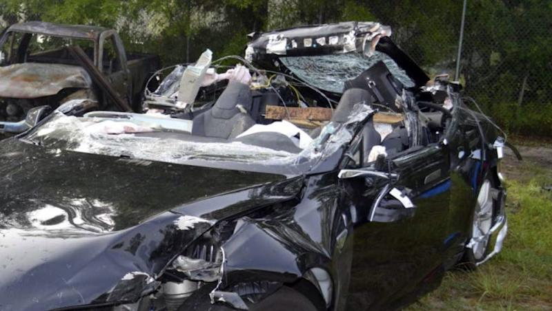 This photo provided by the NTSB via the Florida Highway Patrol shows the Tesla Model S