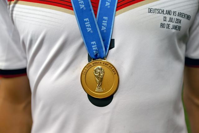 The FIFA World Cup 2014 winners medal worn by a Germany player (Getty Images)