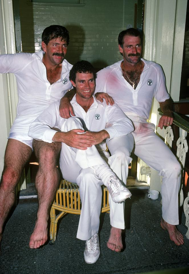 AUSTRALIA:   Dennis Lillee with Rodney Marsh and Greg Chappell of Australia posing for the camera in Australia.  (Photo by Getty Images)
