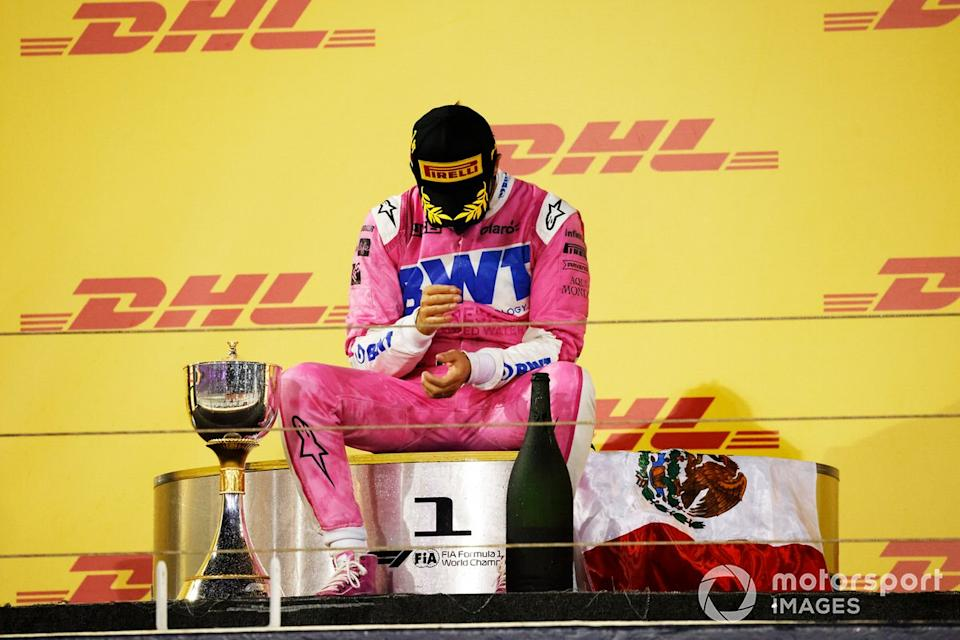 "Podio: ganador de la carrera Sergio Pérez, Racing Point<span class=""copyright"">Glenn Dunbar / Motorsport Images</span>"