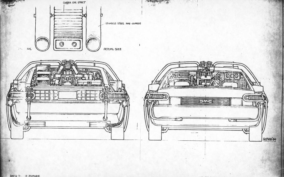 Sketches of front and rear of DeLorean.