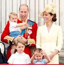 """<p><a href=""""https://www.elle.com/uk/life-and-culture/a27835661/kate-middleton-hat-trooping-the-colour/"""" rel=""""nofollow noopener"""" target=""""_blank"""" data-ylk=""""slk:The children later joined their parents"""" class=""""link rapid-noclick-resp"""">The children later joined their parents</a> on the Buckingham Palace balcony for the annual royal event.</p>"""