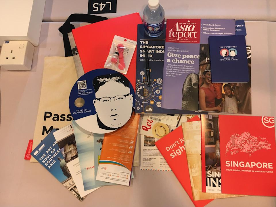 The contents of the media kit issued to every journalist at the International Media Centre for the Trump-Kim summit. PHOTO: Nicholas Yong/Yahoo News Singapore
