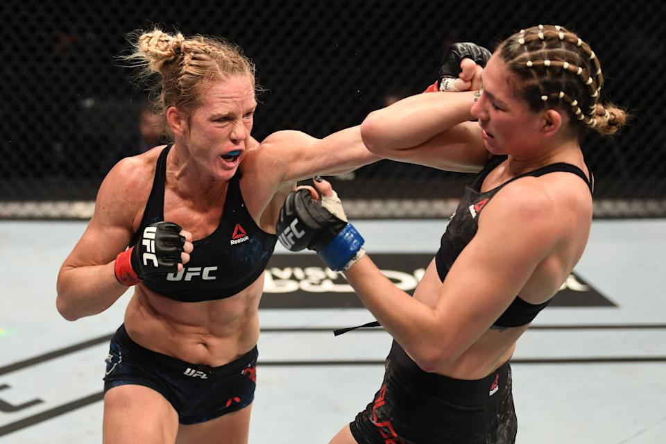 ABU DHABI, UNITED ARAB EMIRATES - OCTOBER 04:  (L-R) Holly Holm punches Irene Aldana of Mexico in their women's bantamweight bout during the UFC Fight Night event inside Flash Forum on UFC Fight Island on October 04, 2020 in Abu Dhabi, United Arab Emirates. (Photo by Josh Hedges/Zuffa LLC)